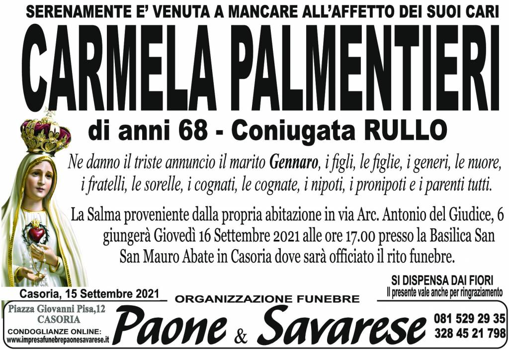 Manifesto funebre di  Carmela Palmentieri