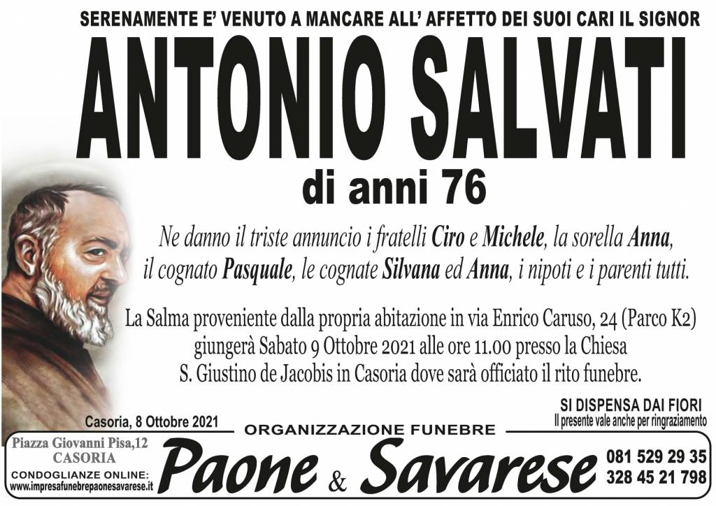 Manifesto funebre di  Antonio Salvati