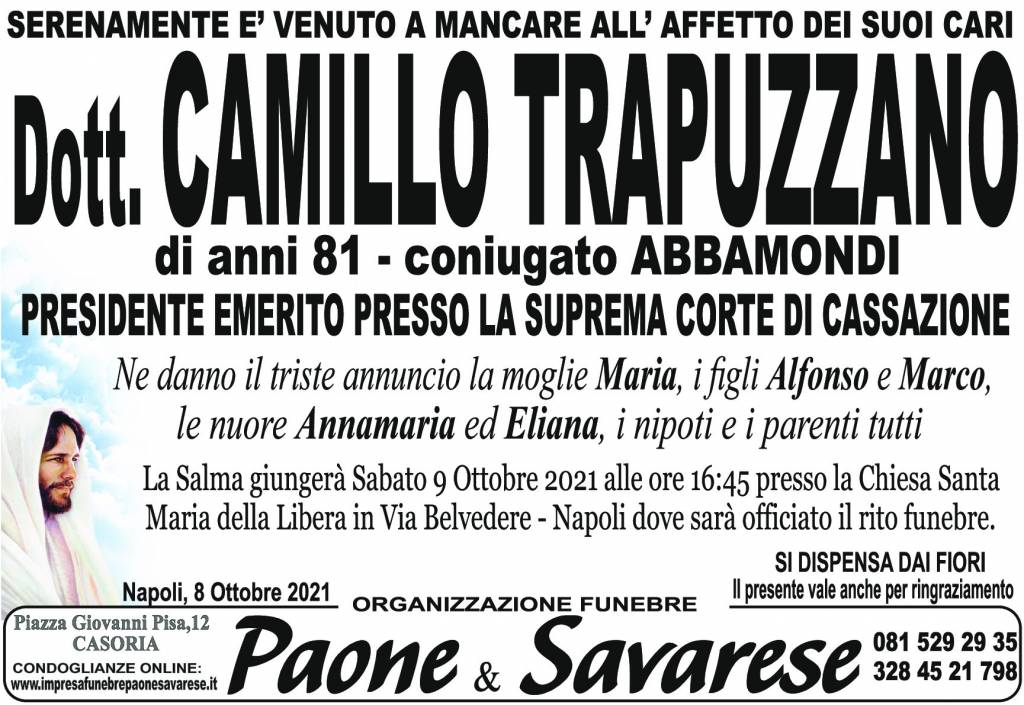 Manifesto funebre di Dott. Camillo Trapuzzano