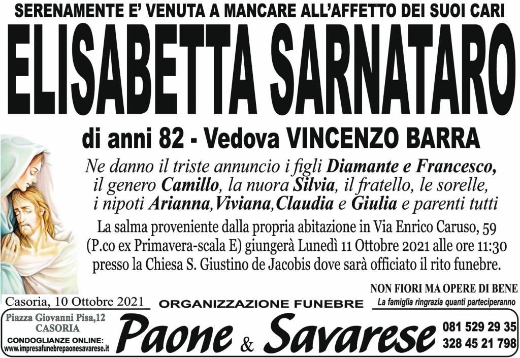 Manifesto funebre di  Elisabetta Sarnataro