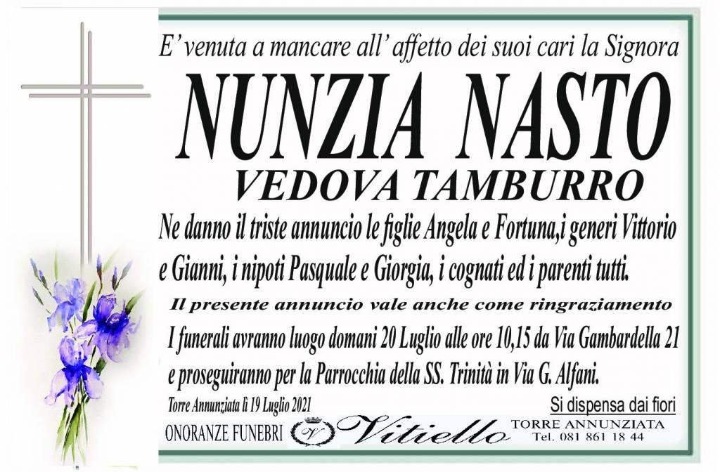 Manifesto funebre di  Nunzia Nasto