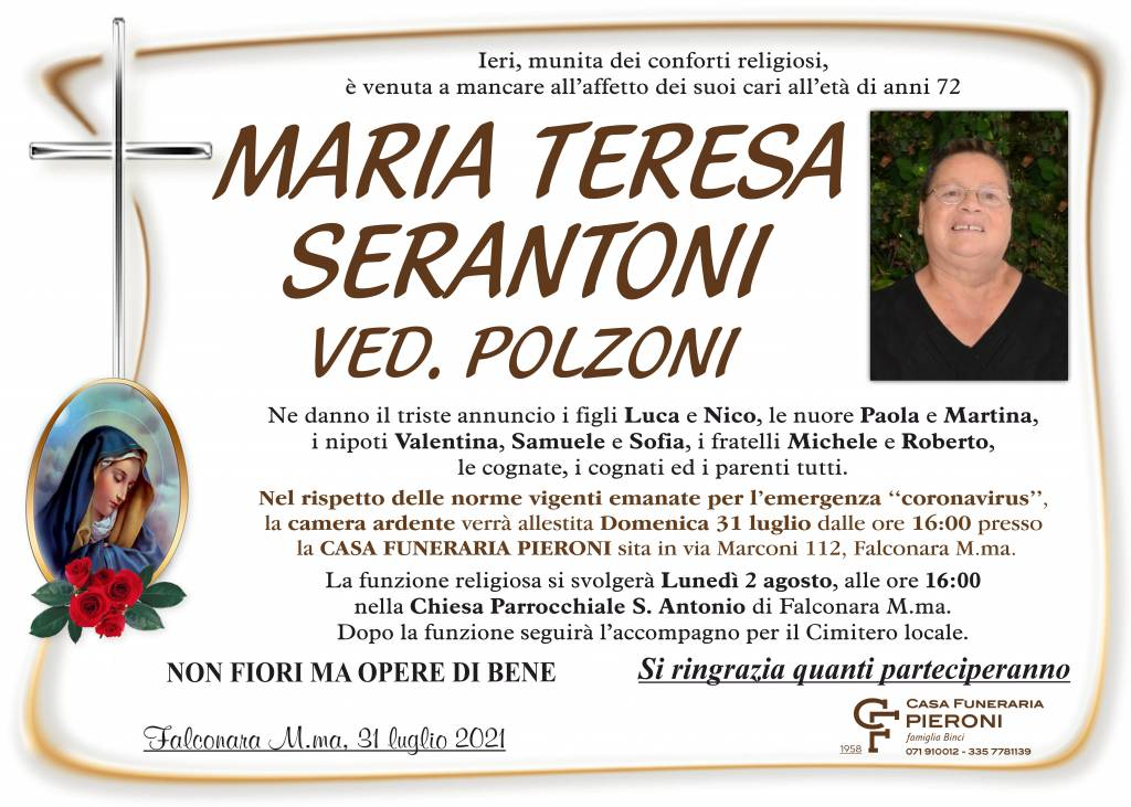 Manifesto funebre di  Maria Teresa Serantoni