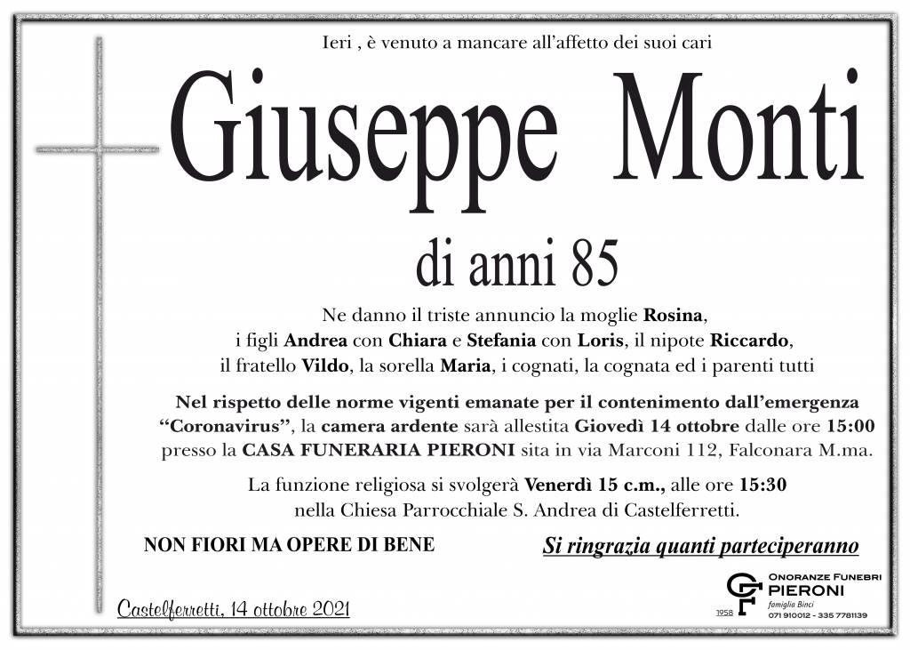 Manifesto funebre di  Giuseppe Monti